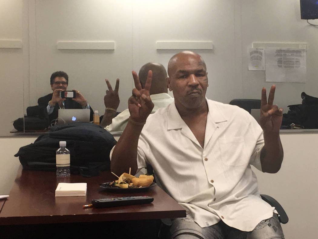 "Mike Tyson is shown backstage at a KATS! Bureau backstage at The Venetian Theatre during ""Vegas Cares"" on Sunday, Nov. 5, 2017 (John Katsilometes/Las Vegas Review-Journal)"