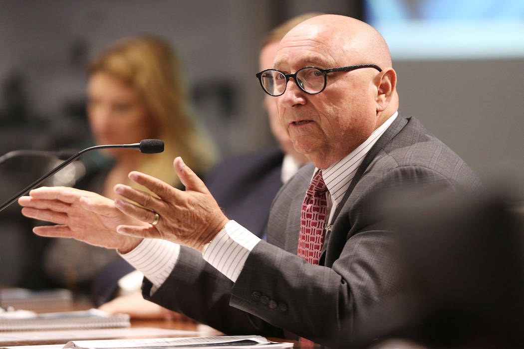 Las Vegas Convention and Visitor Authority President Rossi Ralenkotter gives his retirement speech during a board meeting at the Las Vegas Convention Center in Las Vegas, Tuesday, June 12, 2018. E ...