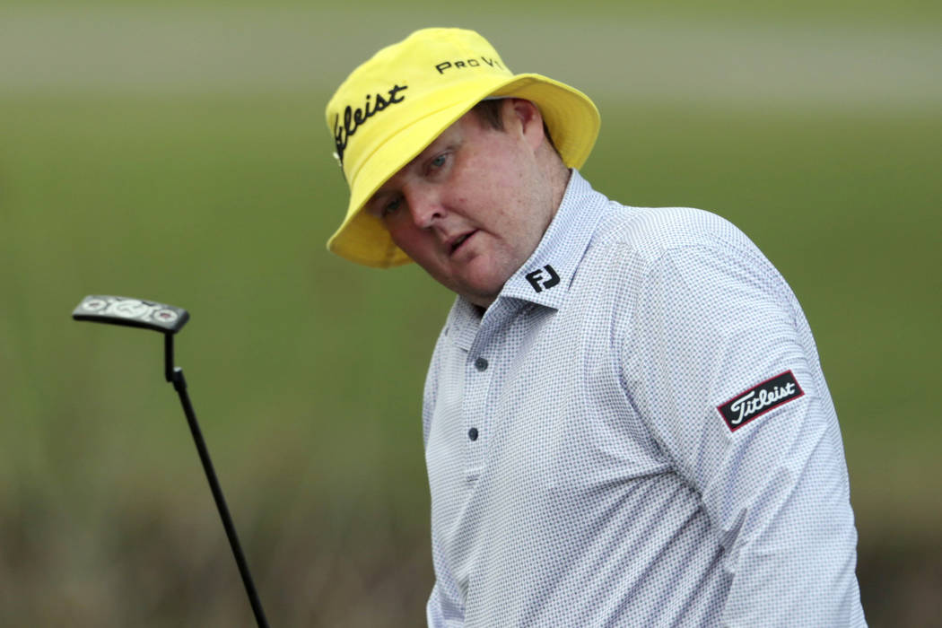 In this April 23, 2015 file photo, Jarrod Lyle, of Australia, reacts after missing a putt on the 17th hole during the first round of the Zurich Classic PGA golf tournament in Avondale, La. (AP Pho ...