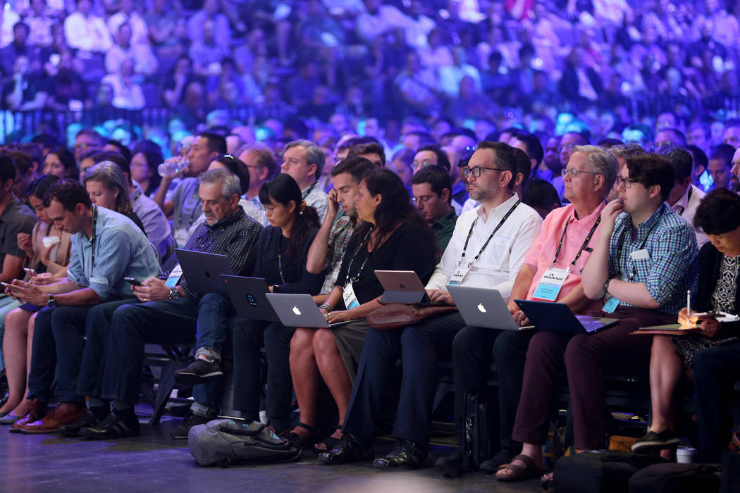 Conventioneers listen to the keynote address from Google Director of Engineering Parisa Tabriz at Black Hat USA cybersecurity conference at Mandalay Bay in Las Vegas Wednesday, Aug. 8, 2018. K.M. ...