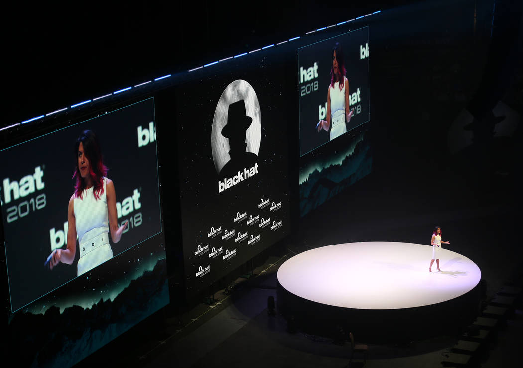Google Director of Engineering Parisa Tabriz gives the keynote address at Black Hat USA cybersecurity conference at Mandalay Bay in Las Vegas Wednesday, Aug. 8, 2018. K.M. Cannon Las Vegas Review- ...