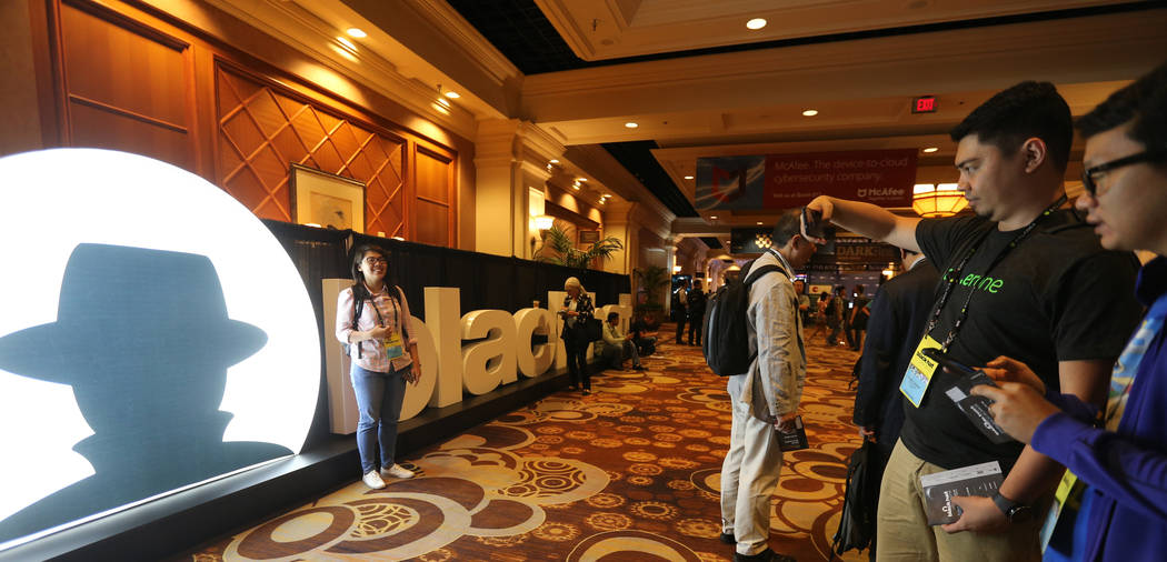 Conventioneers who declined to give their names at Black Hat USA cybersecurity conference at Mandalay Bay in Las Vegas Wednesday, Aug. 8, 2018. K.M. Cannon Las Vegas Review-Journal @KMCannonPhoto