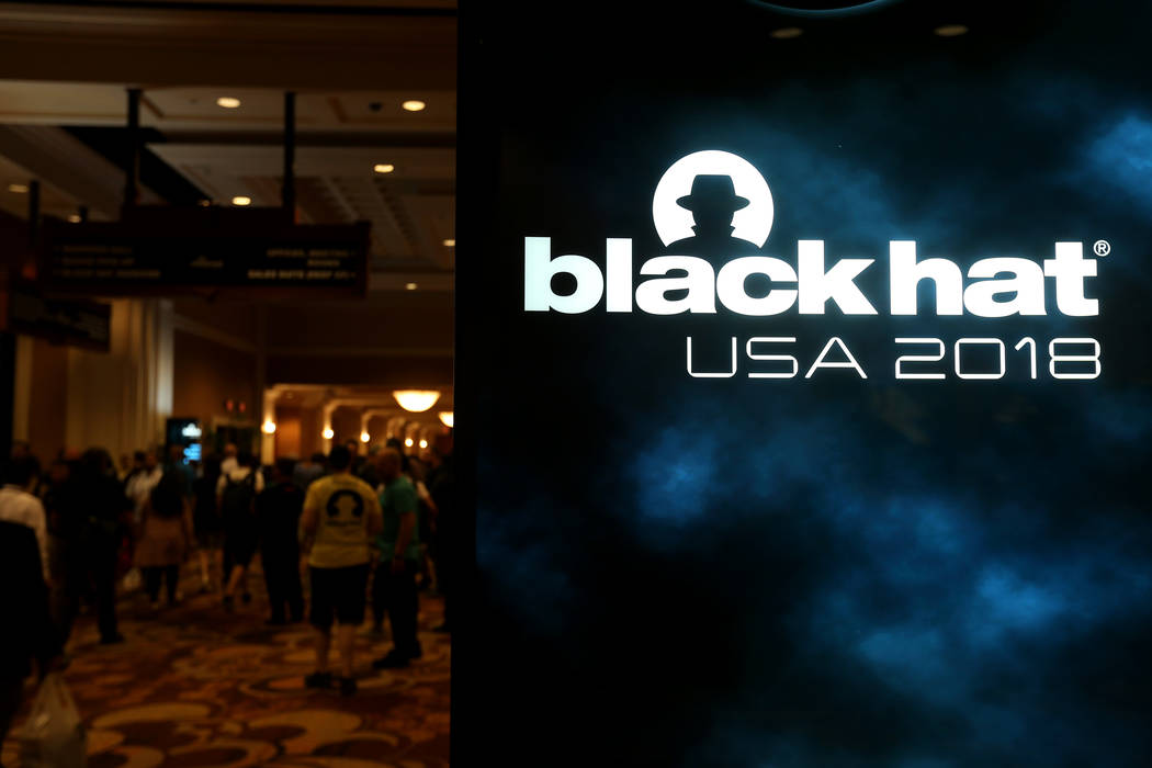 Conventioneers at Black Hat USA cybersecurity conference at Mandalay Bay in Las Vegas Wednesday, Aug. 8, 2018. K.M. Cannon Las Vegas Review-Journal @KMCannonPhoto