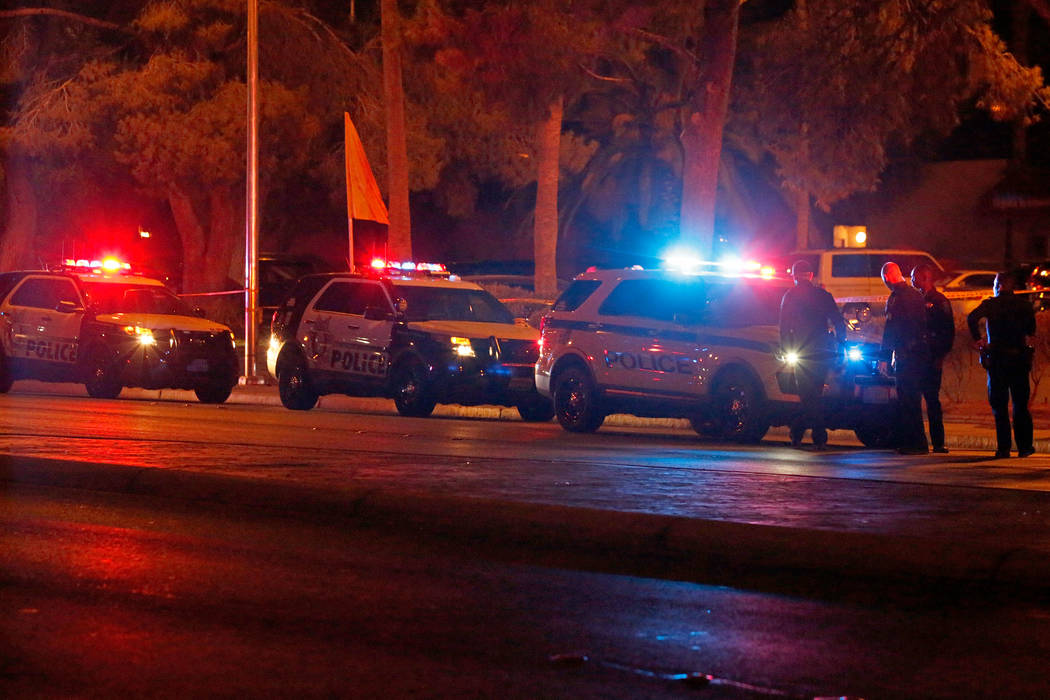 Las Vegas police investigate an officer-involved shooting near an apartment complex in the 5300 block of East Tropicana Avenue in Las Vegas, Wednesday, Aug. 8, 2018. Chitose Suzuki Las Vegas Revie ...