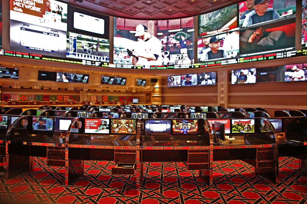 The new race and sports book at the Wynn on Monday, July 31, 2017, in Las Vegas. There are new screens, seats and carpet. Rachel Aston Las Vegas Review-Journal @rookie__rae