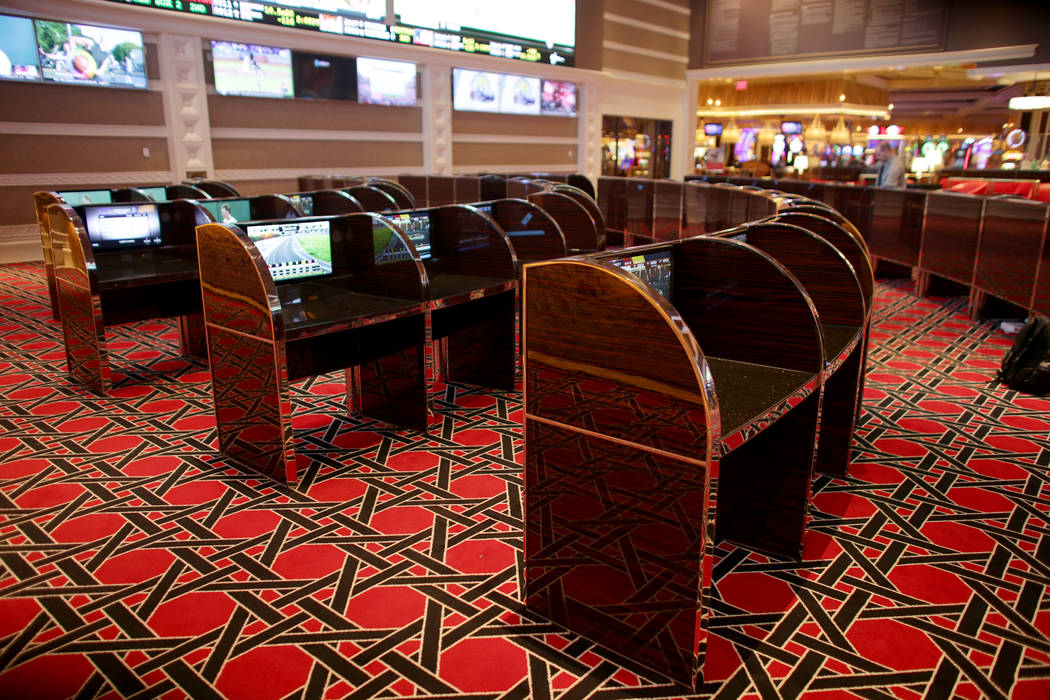 The carrels at the new race and sports book at the Wynn on Monday, July 31, 2017, in Las Vegas.There are new screens, seats and carpet. Rachel Aston Las Vegas Review-Journal @rookie__rae