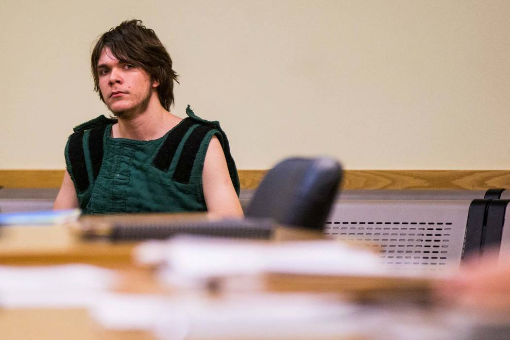 Michael Wilson awaits his arraignment in Pahrump Justice Court on Thursday, Aug. 9, 2018. Wilson and his brother, Dakota Saldivar, face charges in the stabbing and beating death of their mother, D ...