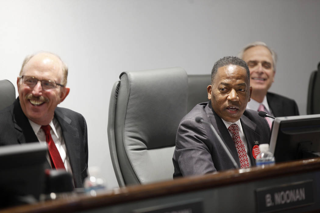 Las Vegas Convention and Visitors Authority member Bill Noonan, left, and chairman Lawrence Weekly, at a board of directors meeting at the Las Vegas Convention Center in Las Vegas, Tuesday, May 8, ...