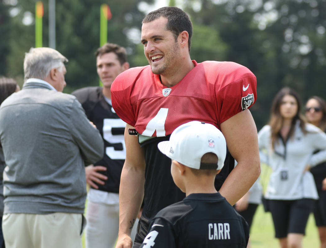 Oakland Raiders quarterback Derek Carr (4) interacts with fans at the team's NFL training camp in Napa, Calif., Wednesday, Aug. 8, 2018. Heidi Fang Las Vegas Review-Journal @HeidiFang