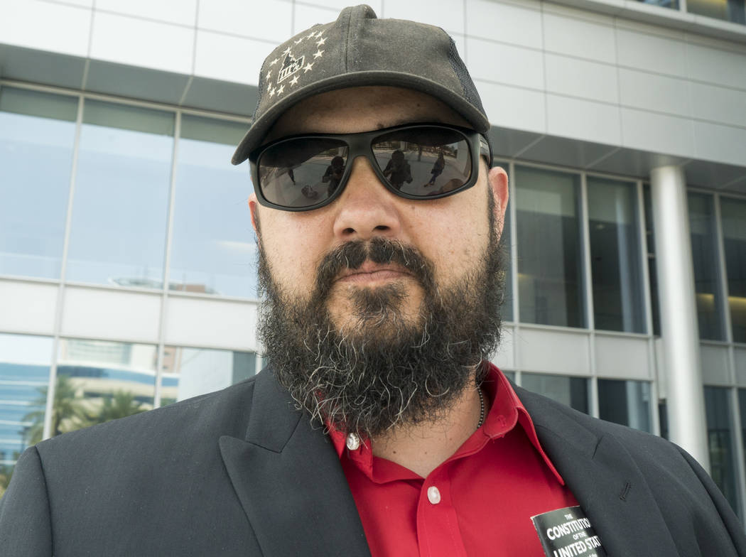 Eric Parker in front of the Lloyd George U.S. Courthouse after Scott Drexler's court hearing in Las Vegas on Thursday, Aug. 9, 2018. U.S. District Judge Gloria Navarro decided that Parker and Drex ...