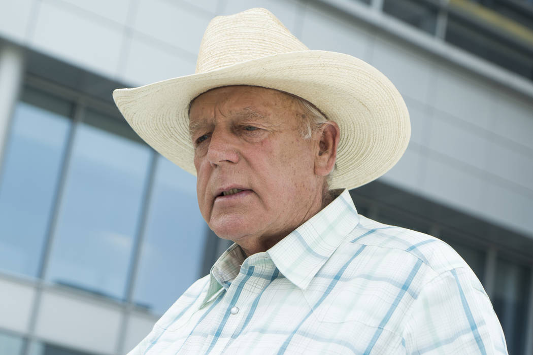 Cliven Bundy speaks with media outside the Lloyd George U.S. Courthouse after Scott Drexler's court hearing in Las Vegas, Thursday, Aug. 9, 2018. U.S. District Judge Gloria Navarro decided Parker ...