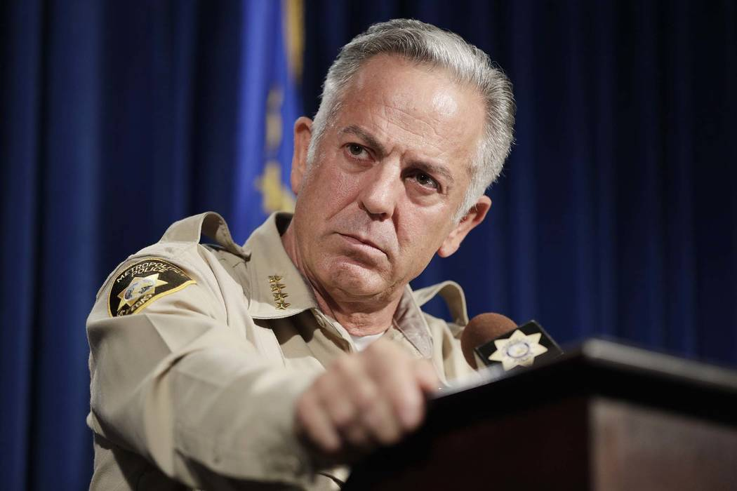 Clark County Sheriff Joe Lombardo speaks at a news conference Friday, Aug. 3, 2018, in Las Vegas. Lombardo spoke about the final report on the Oct. 1, 2017, shooting that became the deadliest in m ...