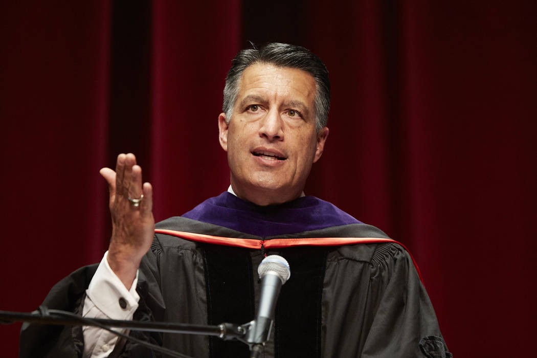Governor Brian Sandoval giving a speech at the Boyd School of Law commencement ceremony on May 11, 2018. (Josh Hawkins/UNLV Creative Services)