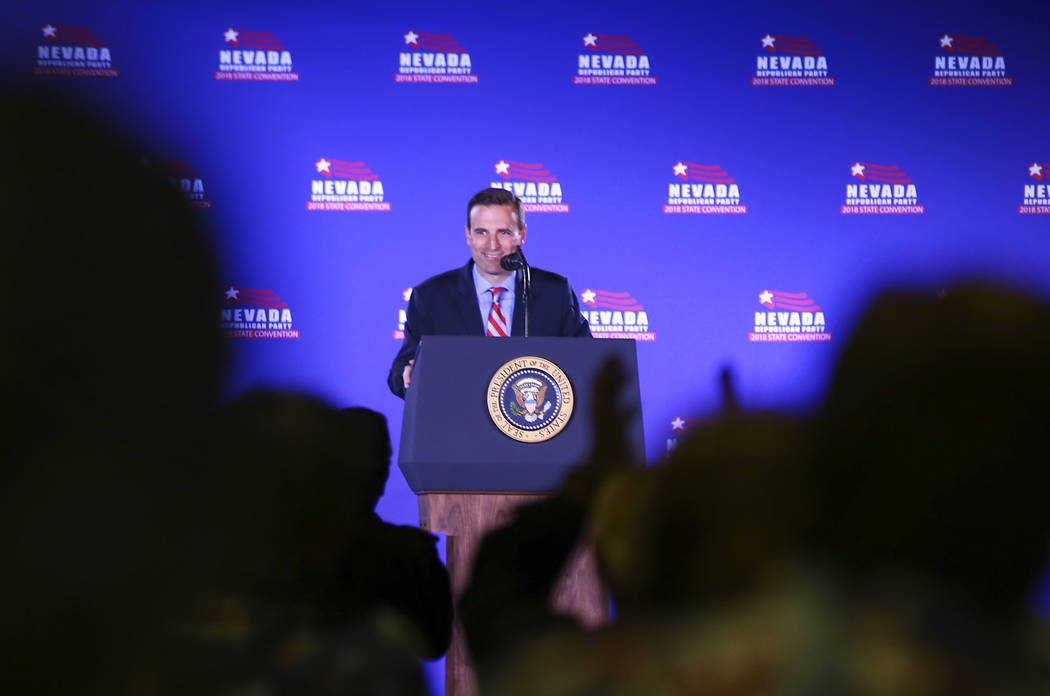 Attorney General Adam Laxalt, Republican candidate for Nevada governor, speaks ahead of President Donald Trump's keynote address at the Nevada Republican Party State Convention at the Suncoast in ...