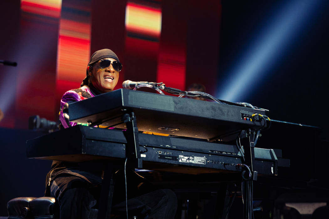 """Stevie Wonder is shown during his """"Song Party"""" production at The Park Theater at Park MGM on Friday, Aug. 4, 2018. (Wonder Productions Inc.)"""