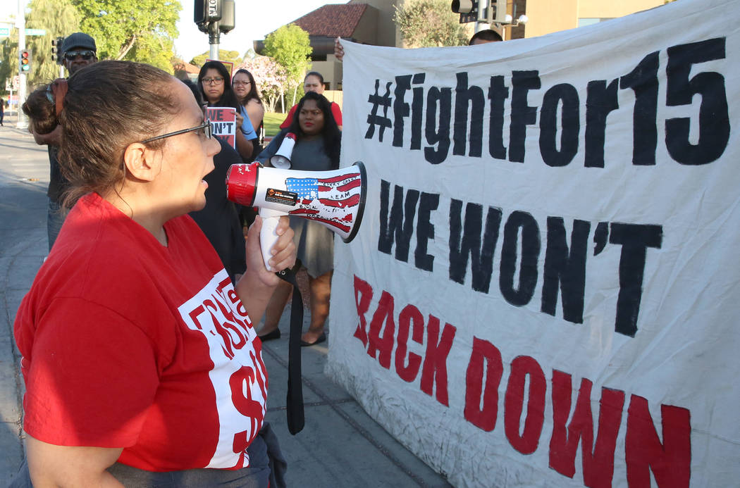 Diana Diaz, McDonald's franchise employee fighting for a higher minimum wage, protests outside of a McDonald's on 2650 W. Sahara Ave., on Wednesday, May 24, 2017, in Las Vegas. Bizuayehu Tesfaye L ...