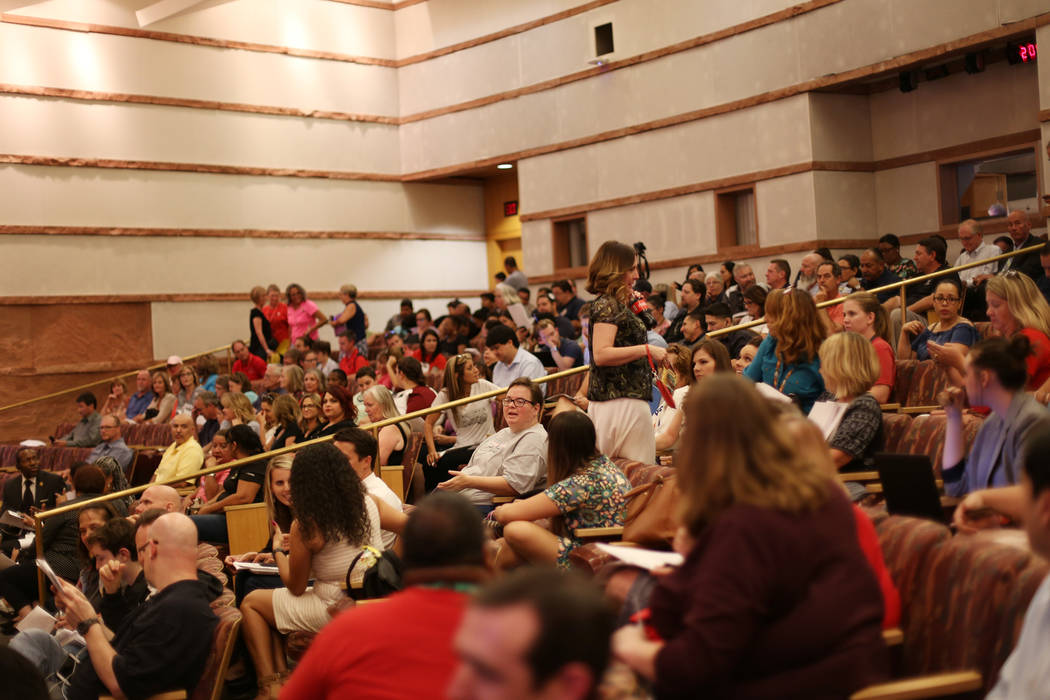 A full house at the Clark County School District board meeting at the Clark County Government Center in Las Vegas, Thursday, Aug. 9, 2018. Support staff came to address the board about poor wages ...
