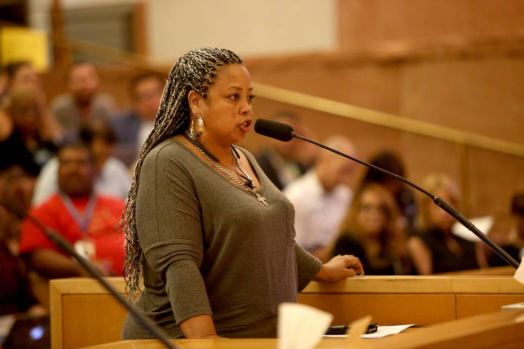 Georgina Parra-Ureno speaks about how the district fails to invest in support staff at a Clark County School District board meeting at the Clark County Government Center in Las Vegas, Thursday, Au ...