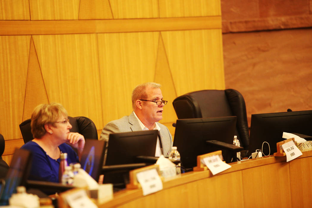 Clark County School Board Trustee Kevin Child speaks at a CCSD board meeting at the Clark County Government Center in Las Vegas, Thursday, Aug. 9, 2018. Support staff came to address the board abo ...