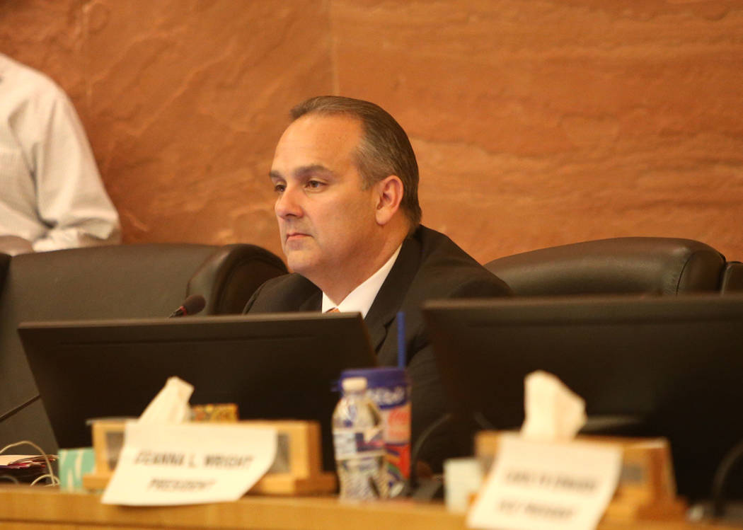 Clark County School Superintendent Jesus Jara listens at a CCSD board meeting at the Clark County Government Center in Las Vegas, Thursday, Aug. 9, 2018. Support staff came to address the board ab ...