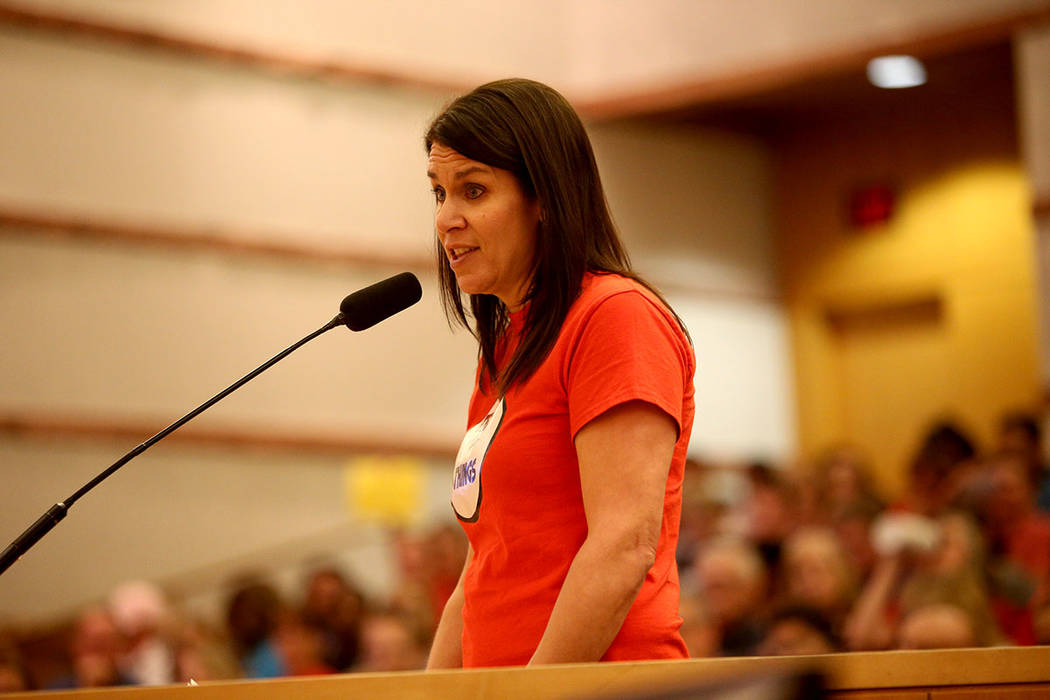 Stacey Segal speaks about how the district fails to invest in support staff at a Clark County School District board meeting at the Clark County Government Center in Las Vegas, Thursday, Aug. 9, 20 ...