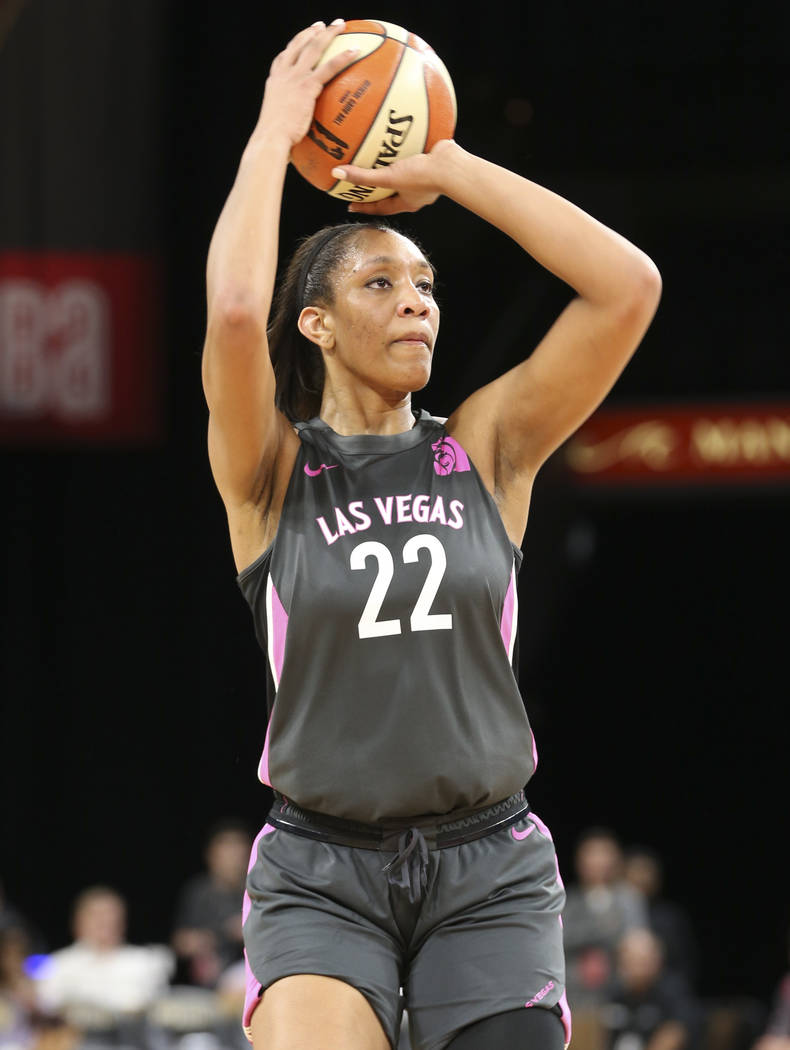 Las Vegas Aces center A'ja Wilson (22) takes a shot against the Minnesota Lynx during the first half of a WNBA basketball game at the Mandalay Bay Events Center in Las Vegas on Thursday, Aug. 9, 2 ...