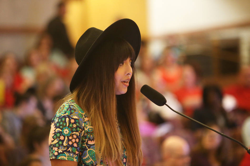 Kristina Hernandez speaks about her support for the new transgender policy at a Clark County School District board meeting at the Clark County Government Center in Las Vegas, Thursday, Aug. 9, 201 ...