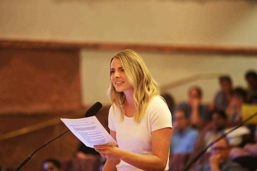 Stephanie Valdez speaks about how she does not support the new transgender policy at a Clark County School District board meeting at the Clark County Government Center in Las Vegas, Thursday, Aug. ...