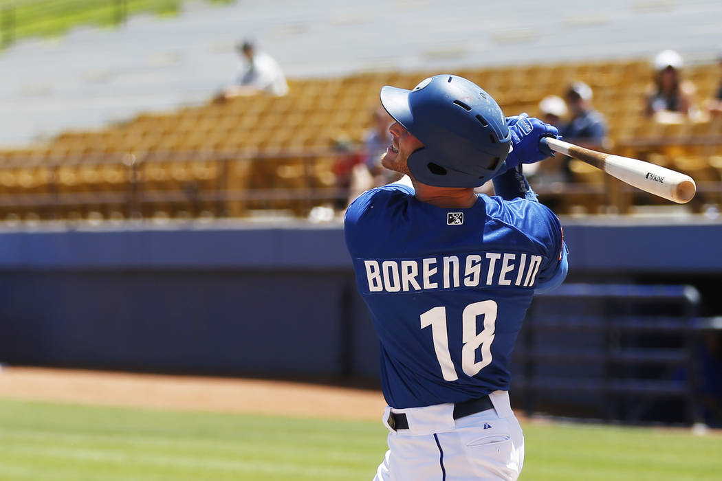 Las Vegas 51s' left fielder Zach Borenstein (18) swings against the Albuquerque Isotopes at Cashman Field in Las Vegas on Sunday, May 13, 2018. Andrea Cornejo Las Vegas Review-Journal @dreacornejo