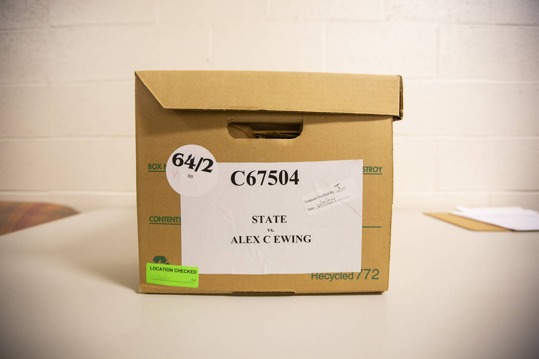 An evidence box from Alex Christopher Ewing's 1984 attempted murder case at the Regional Justice Center's evidence vault in downtown Las Vegas on Friday, Aug. 10, 2018. Richard Brian Las Vegas Rev ...