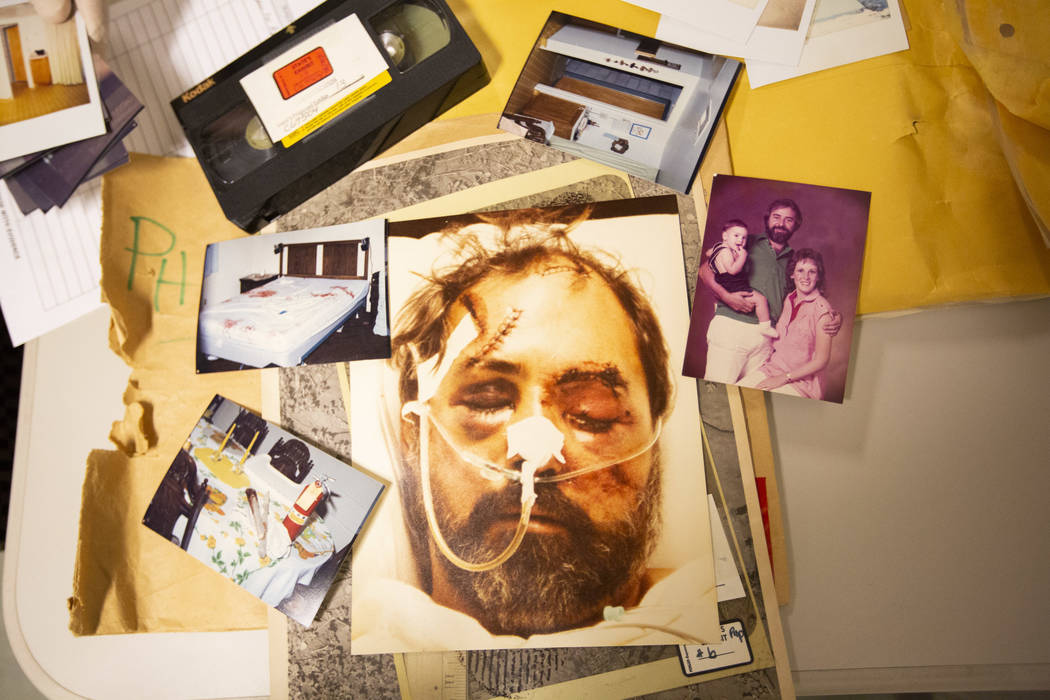 Evidence and photos from Alex Christopher Ewing's 1984 attempted murder case at the Regional Justice Center's evidence vault in downtown Las Vegas on Friday, Aug. 10, 2018. Richard Brian Las Vegas ...