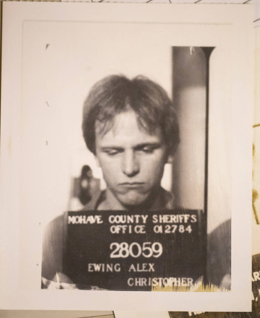 A mug shot of Alex Christopher Ewing from an evidence box from his 1984 attempted murder case at the Regional Justice Center's evidence vault in downtown Las Vegas on Friday, Aug. 10, 2018. Richar ...