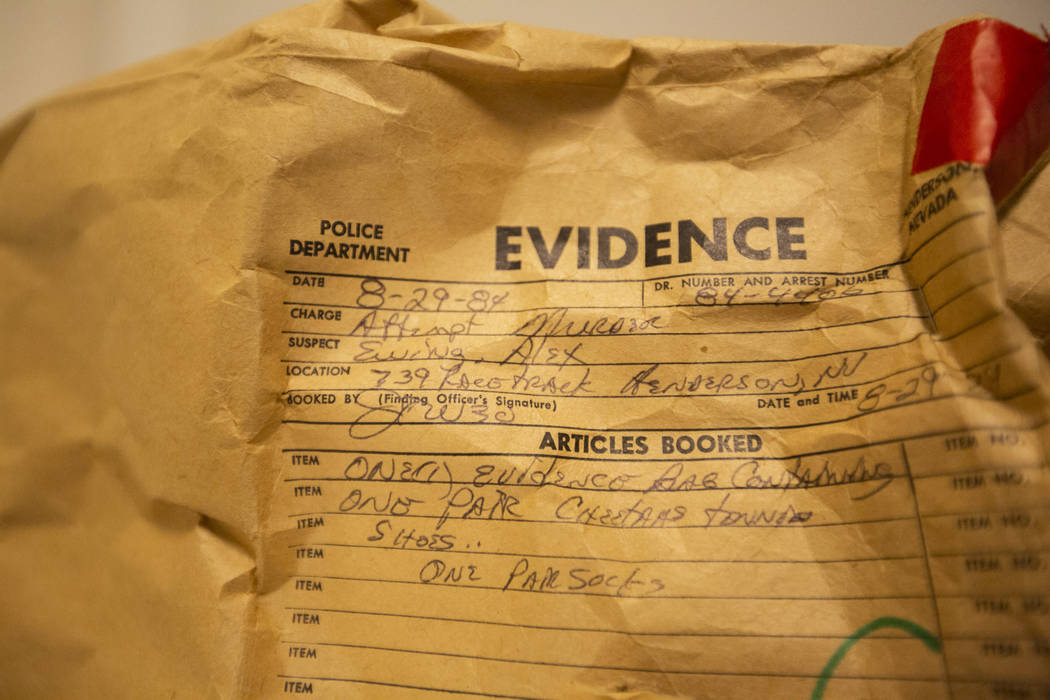 Evidence from Alex Christopher Ewing's 1984 attempted murder case at the Regional Justice Center's evidence vault in downtown Las Vegas on Friday, Aug. 10, 2018. Richard Brian Las Vegas Review-Jou ...