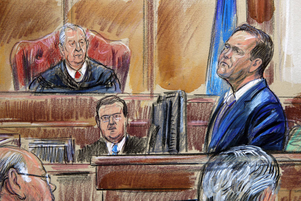 This courtroom sketch depicts Rick Gates on the witness stand as he is cross examined by defense lawyer Kevin Downing during the trial of former Donald Trump campaign chairman Paul Manafort on ban ...