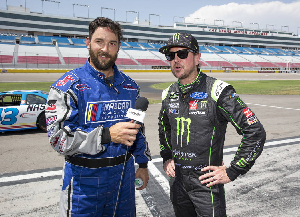 Vegas Golden Knights defenseman Deryk Engelland, left, and NASCAR driver Kurt Busch take questions from reporters during a media event on Monday, Aug. 13, 2018, at the Las Vegas Motor Speedway to ...