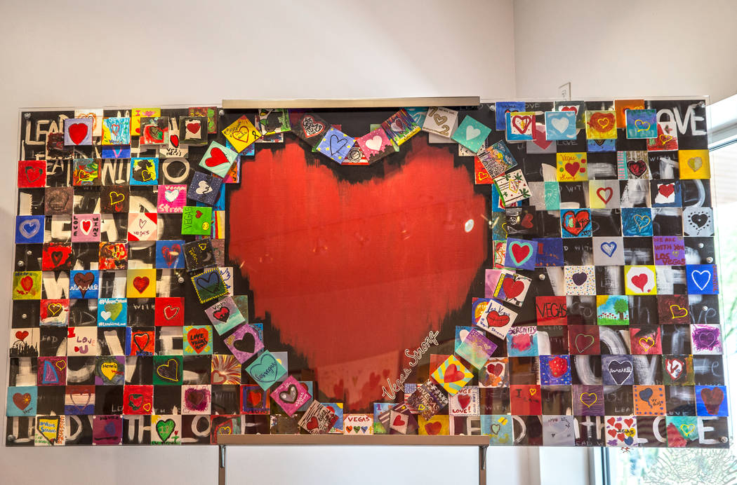 "The ""Hearts4Vegas"" exhibit is a collection of cards, banners and other art work sent to Las Vegas after the Oct. 1 shooting. Photo taken on Wednesday, August, 1, 2018, at the Nevada Huma ..."