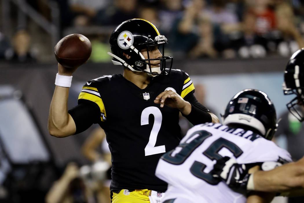 Pittsburgh Steelers' Mason Rudolph in action during the second half of a preseason NFL football game against the Philadelphia Eagles, Thursday, Aug. 9, 2018, in Philadelphia. (AP Photo/Michael Perez)
