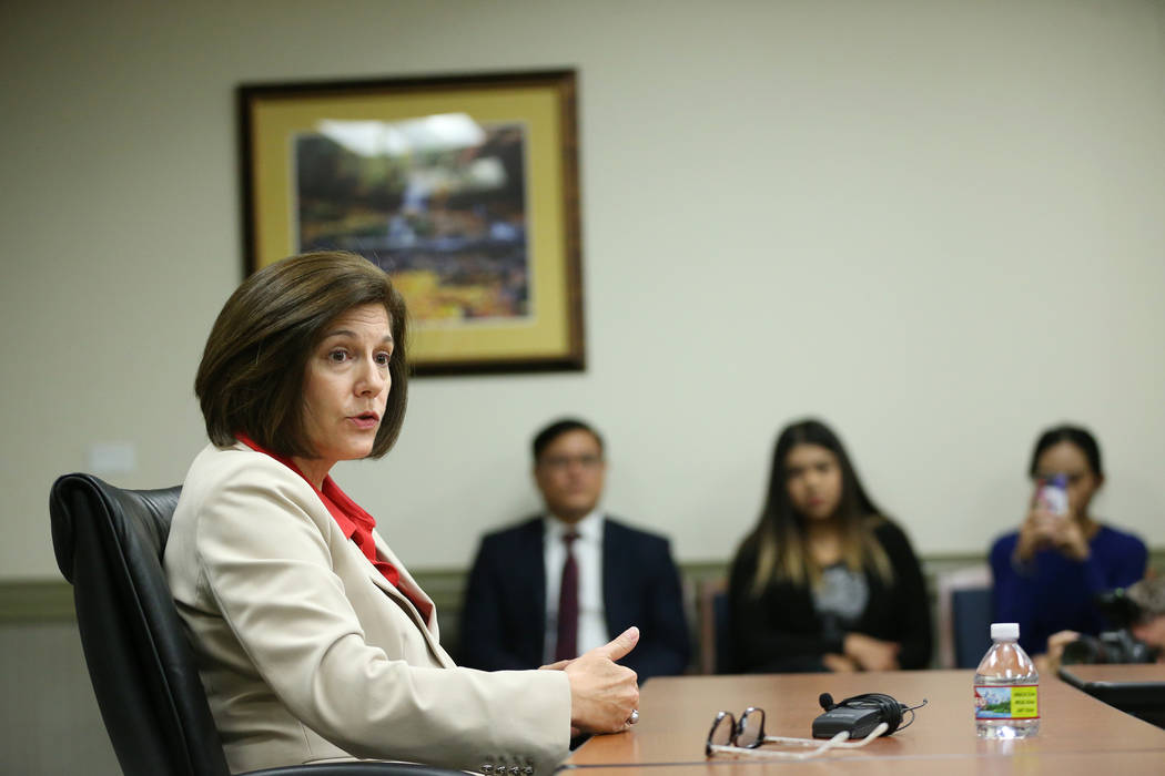 U.S. Senator Catherine Cortez-Masto speaks during a roundtable with reporters at the Lloyd George U.S. Courthouse in Las Vegas, Friday, Aug. 10, 2018. Erik Verduzco Las Vegas Review-Journal @Erik_ ...
