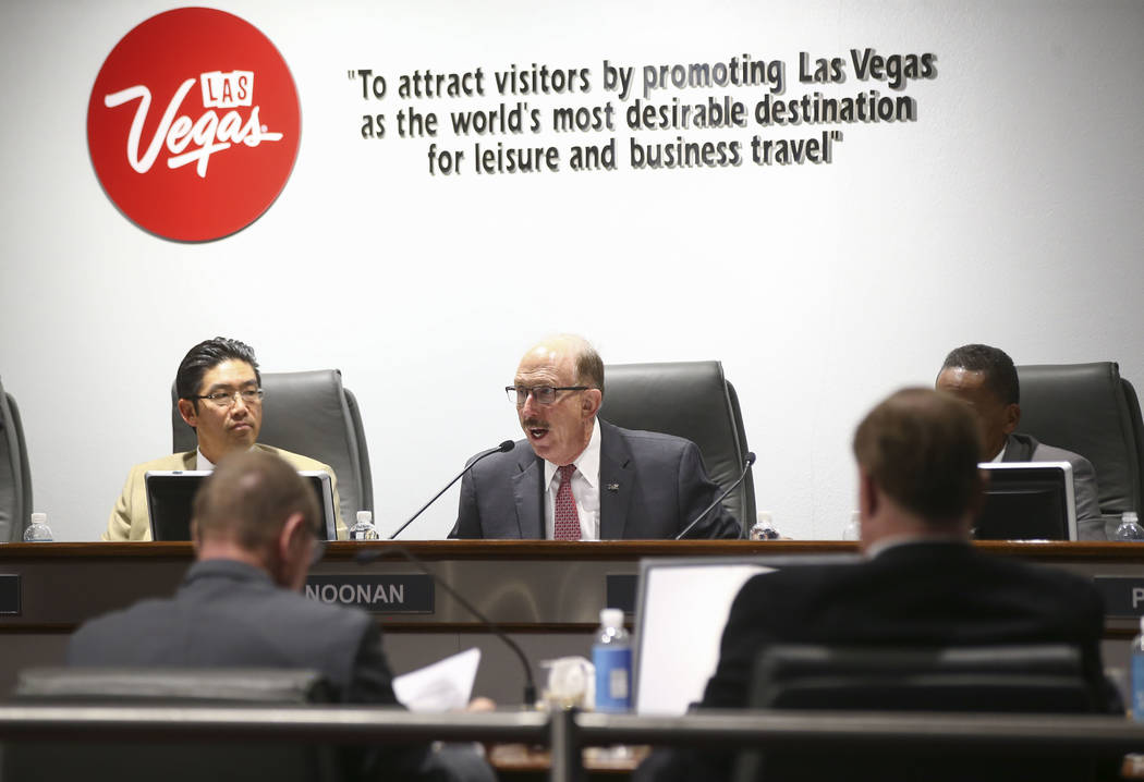 Las Vegas Convention and Visitors Authority board member Bill Noonan, center, admonished CEO Rossi Ralenkotter for using the agency's resources for personal travel. Chase Stevens Las Vegas Review- ...