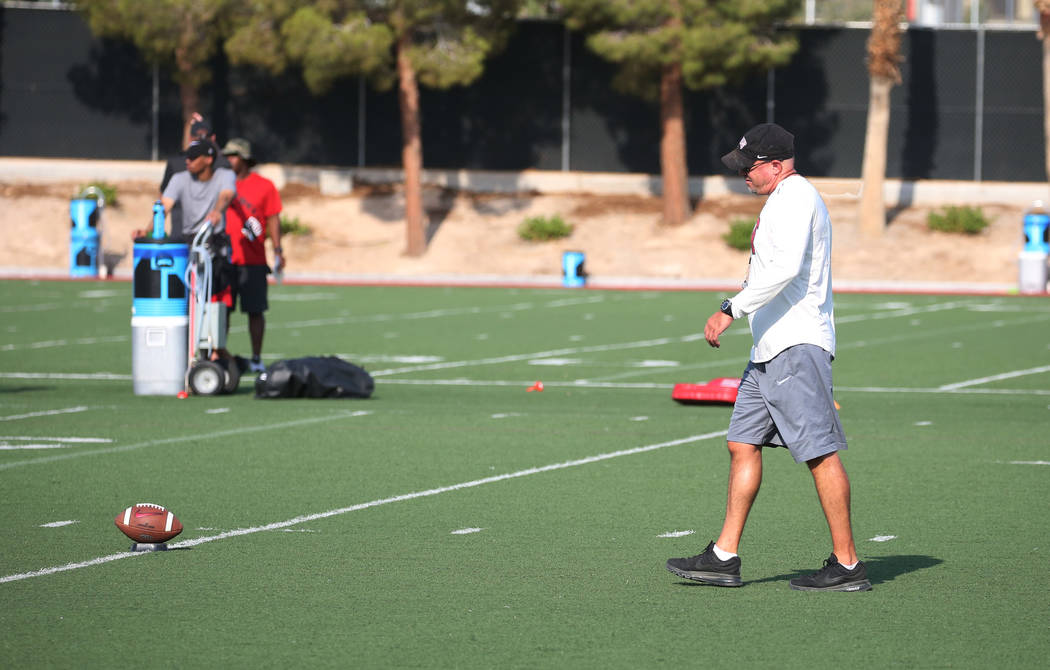 UNLV Rebels head coach Tony Sanchez walks on the field during team practice on Thursday, Aug. 9, 2018, in Las Vegas. Bizuayehu Tesfaye/Las Vegas Review-Journal @bizutesfaye