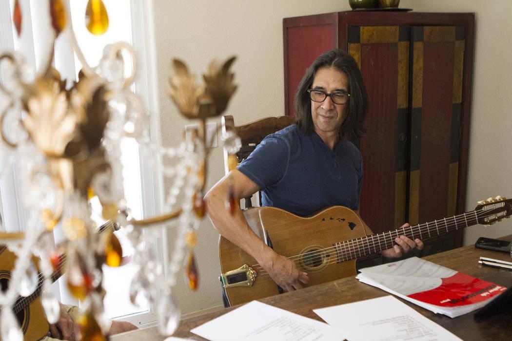 Mundo Juillerat, member of the gypsy jazz band the Hot Club of Vegas, rehearses at his home on Thursday, June 9, 2016, in Henderson. Erik Verduzco/Las Vegas Review-Journal Follow @Erik_Verduzco