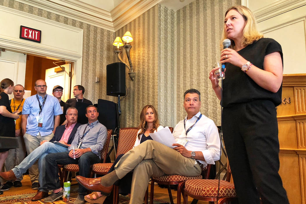 Jeanette Manfra of the Department of Homeland Security addressing attendees at DefCon Friday at Caesars Palace about election hacking. (Todd Prince/Las Vegas Review-Journal)