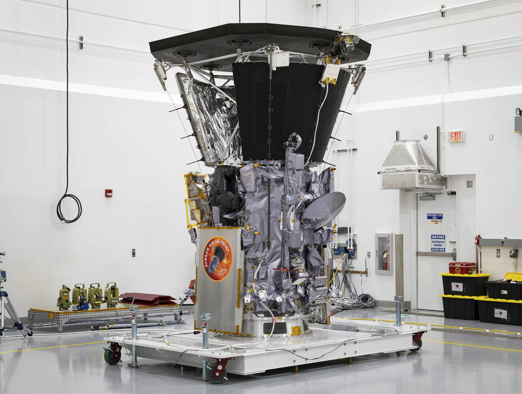 The Parker Solar Probe in a clean room at Astrotech Space Operations in Titusville, Fla., after the installation of its heat shield on July 6, 2018 . NASA's Parker Solar Probe will be the first s ...