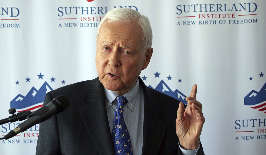 U.S. Sen. Orrin Hatch discusses Supreme Court nominee Brett Kavanaugh during a speech hosted by the Sutherland Institute, Thursday, Aug. 9, 2018, in Salt Lake City. (Rick Bowmer/AP)