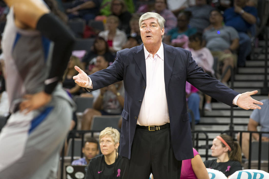Las Vegas Aces head coach Bill Laimbeer reacts to a call during the first half of a WNBA basketball game against the Minnesota Lynx at the Mandalay Bay Events Center in Las Vegas on Thursday, Aug. ...