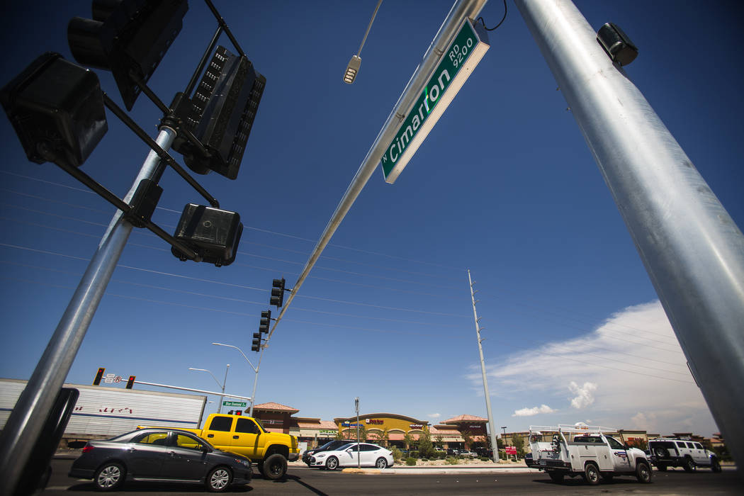 A traffic light at Cimarron Road and Blue Diamond Road as seen Thursday, Aug. 14, 2014. The Nevada Office of Traffic Safety is seeking a law to allow police to ticket drivers using traffic cameras ...