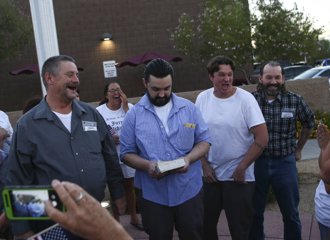 Defendants in the Bunkerville standoff, from left, Ricky Lovelien, Eric Parker, Steven Stewart and Scott Drexler after they were released at the Henderson Detention Center in Henderson on Tuesday, ...