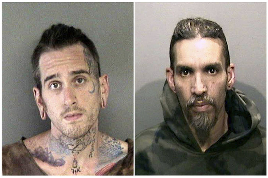 This combination of file June 2017 booking photos released by the Alameda County Sheriff's Office shows Max Harris, left, and Derick Almena, at Santa Rita Jail in Alameda County, Calif. T(Alameda ...