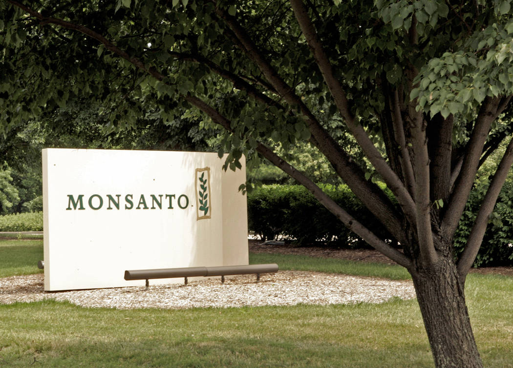 A sign at the Monsanto Co. headquarters in St. Louis. (AP Photo/James A. Finley)