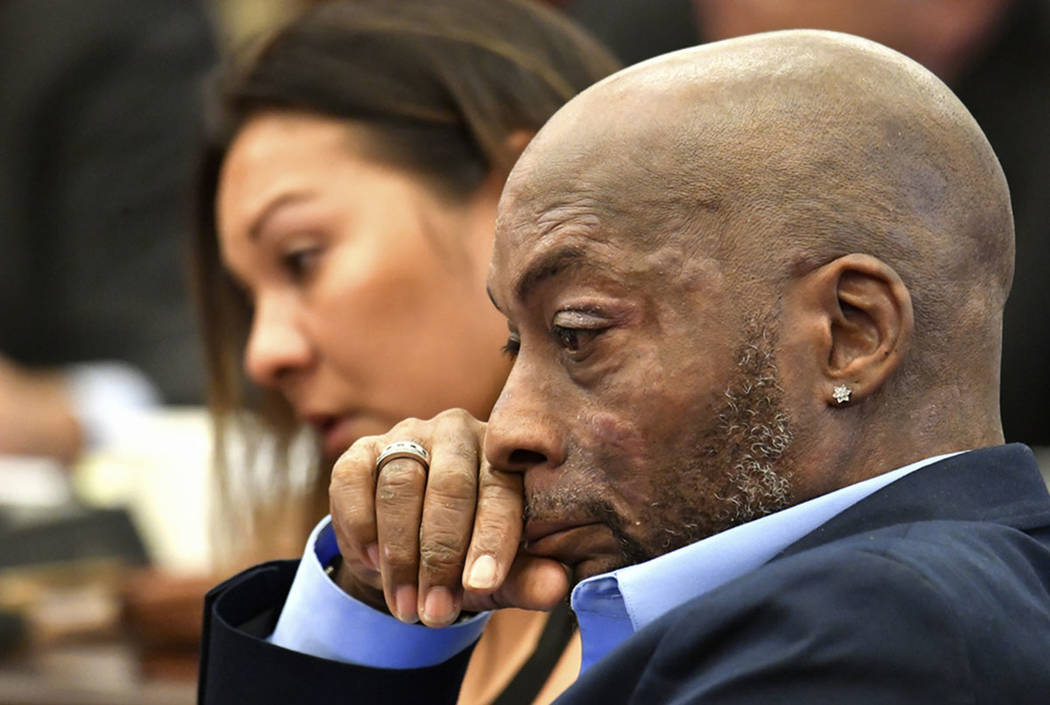 Plaintiff Dewayne Johnson, right, reacts while attorney Brent Wisner, not seen, speaks about his condition during the Monsanto trial in San Francisco in July 2018. (Josh Edelson/Pool Photo via AP, ...